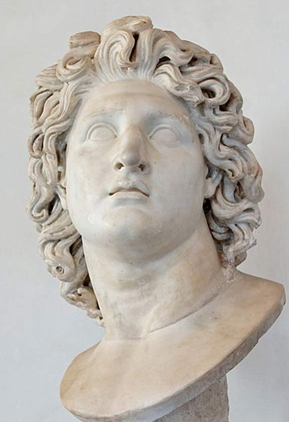 Alexander the Great as Helios. Marble, Roman copy after a Hellenistic original from 3rd–2nd century BC.