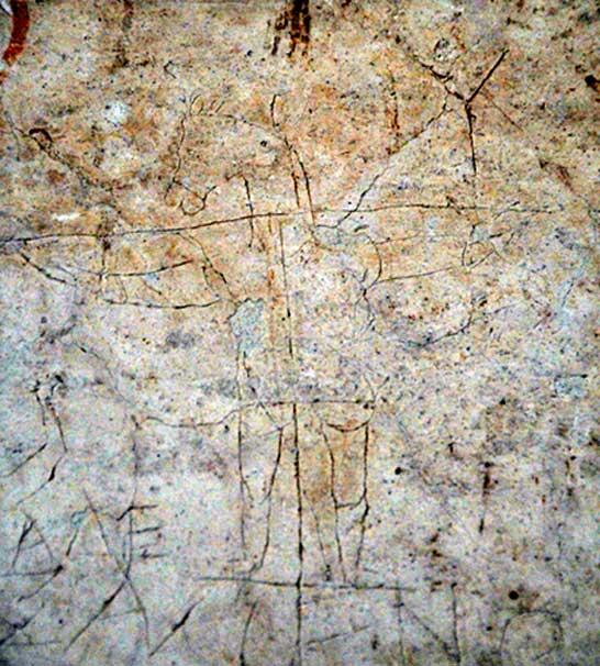 Alexmenos graffito. c. 200 AD. Palatine Museum, Rome, Italy. Photo credit: penelope.uchicago