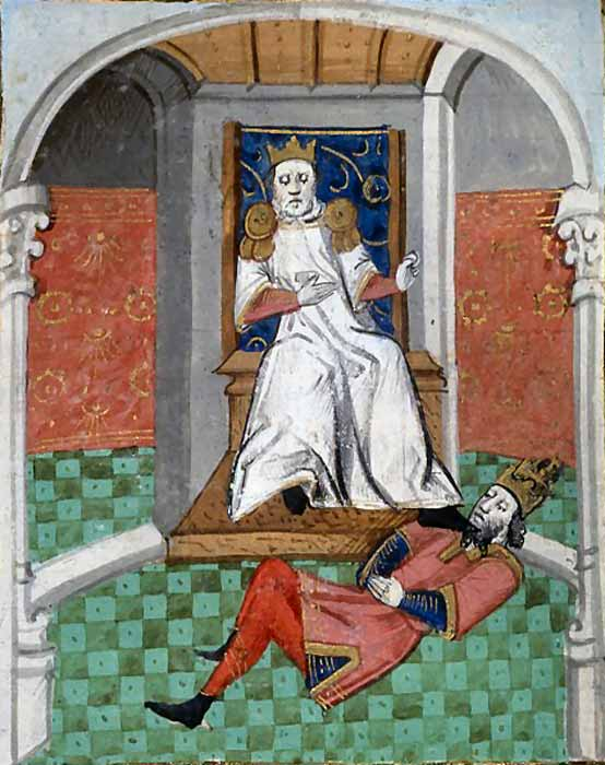 Alp Arslan, leader of the Seljuk Turks, with his foot on Romanos IV Diogenes' throat. (Boccace, De Casibus / Public domain)
