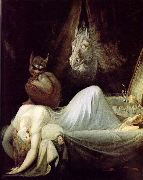 Alptraum perches on woman, Nachtmahr – The Nightmare, circa 1790. (Public Domain)
