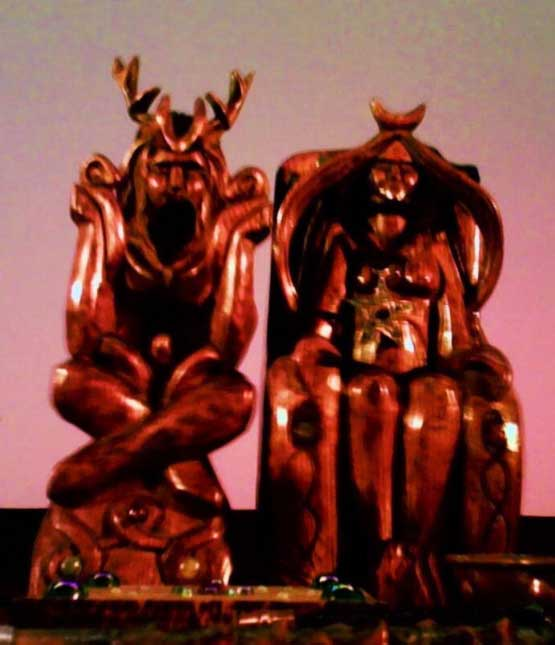 Altar statues of the Horned God and Mother Goddess