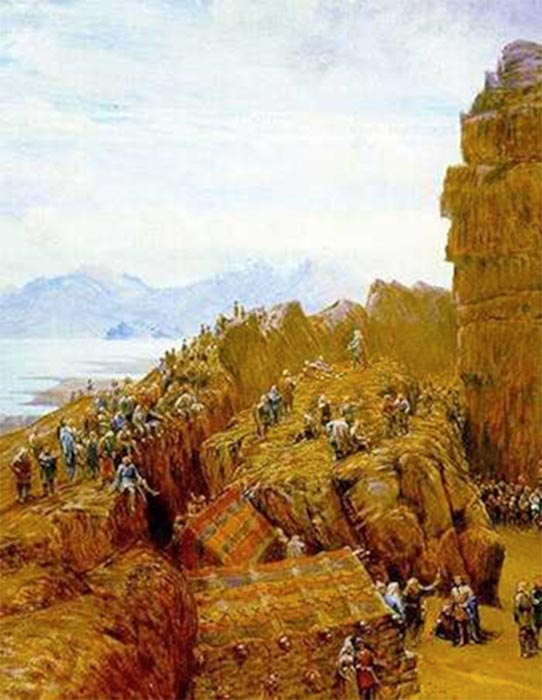 """Althing in Session."" 19th-century rendering of the Law Rock in Þingvellir by W. G. Collingwood (1854–1932) Bridgman Art Library (Public Domain)"