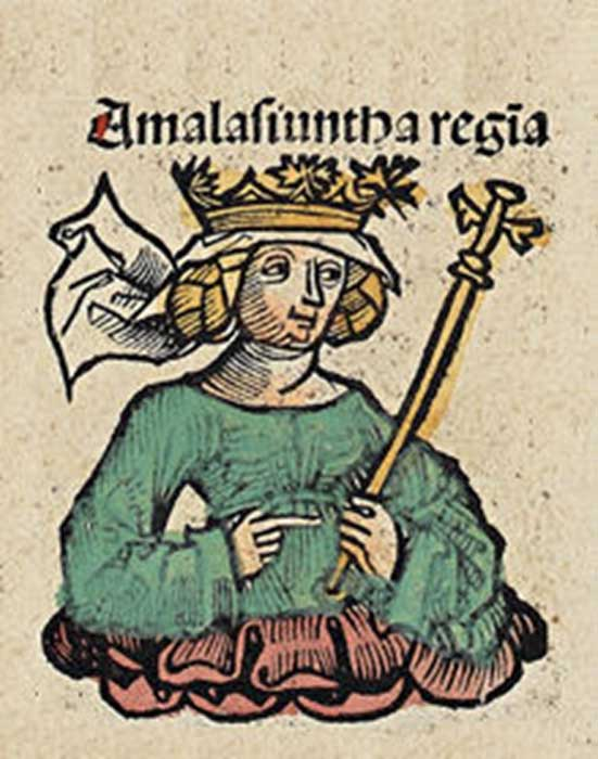 Amalasiuntha regina – woodcut from the Nuremberg Chronicle.