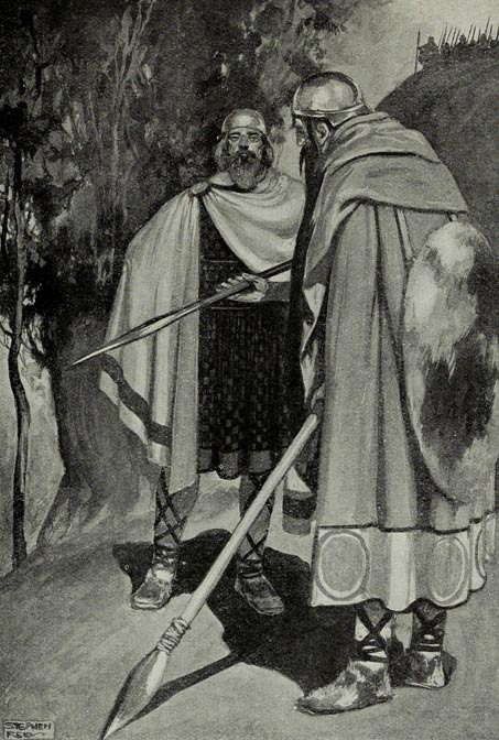 Ambassadors of the Fir Bolg and Tuath Dé meeting before the Battle of Moytura, an illustration by J. C. Leyendecker in T. W. Rolleston's Myths & Legends of the Celtic Race, 1911