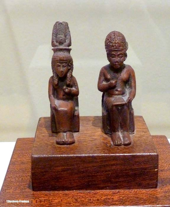 Amenhotep III and Queen Tiye are depicted together in these charming ebony statuettes discovered in the ruins of the pharaoh's harem-palace at Gurob, Faiyum region. Some scholars though are not convinced this is an authentic artifact. (Photo: Yvonne Buskens-Frenken)