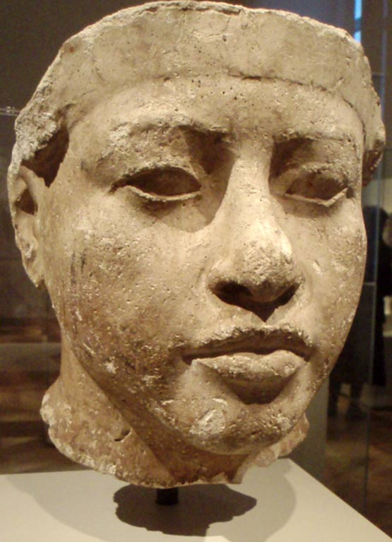Portrait study thought to represent Amenhotep III, the father of the pharaoh Akhenaten. Originally discovered within the workshop of the royal sculptor Thutmose at Amarna, now part of the Ägyptisches Museum collection in Berlin.