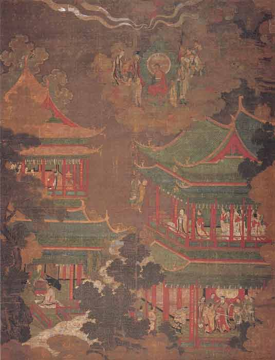A painting from the Amitayurdhyana sutra showing a palace exemplifying the architecture of the Goryeo dynasty. (Goryeo-Dynasty artist / Public domain)