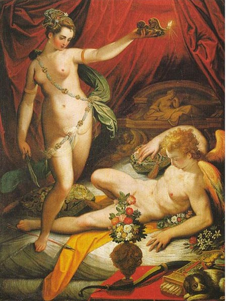 Amor and Psyche(1589), oil on canvas by Jacopo Zucchi