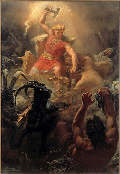 An 1872 representation by Mårten Eskil Winge of Thor wielding his famous hammer, Mjölnir, against the giants. (Public Domain)