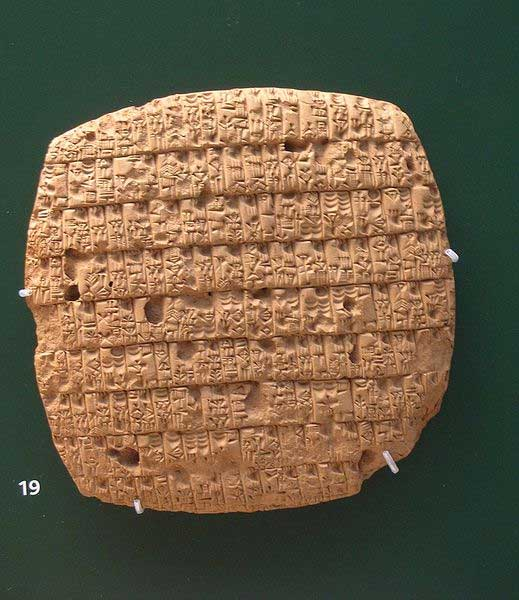 An account of barley rations issued monthly to adults (30 or 40 pints) and children (20 pints) written in Cuneiform on clay tablet, written in year 4 of King Urukagina (circa 2350 BC). From Ngirsu, Iraq. British Museum, London. (Public Domain)