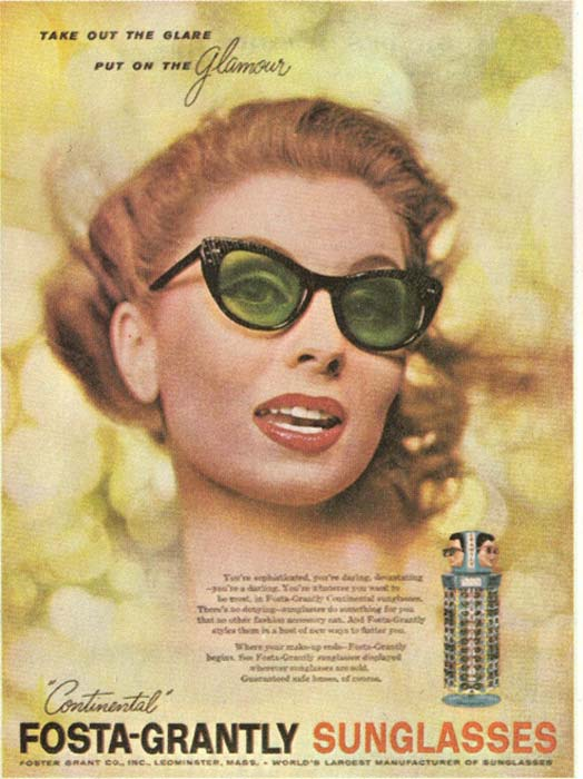 An ad for Foster Grant mass-produced fashion sunglasses.