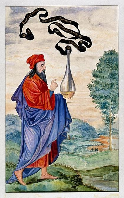 "An alchemical adept carrying the vase of Hermes, which is inscribed ""Let us go to seek the nature of the four elements""."