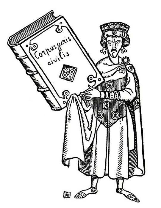 An illustration for the book 'The General History Edited by Satyricon.' Justinian holds a volume of the Corpus Juris Civilis, a collection of fundamental works in jurisprudence issued by order of Justinian the Great. (Public Domain)