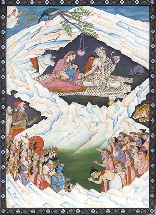 An illustration of the Hindu significance of Mount Kailash. It shows the holy family of Shiva and Ganesha.