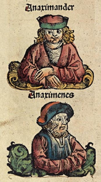 Woodcut depicting Anaximander and Anaximenes from the Nuremberg Chronicle.