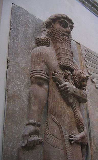 Ancient Assyrian statue currently in the Louvre believed by some scholars to represent Enkidu, a major character of the 'Epic of Gilgamesh.'