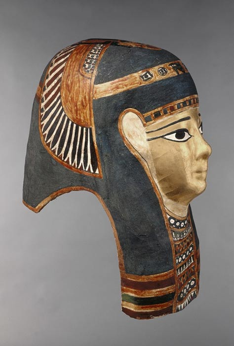 Ancient Egyptian mask image showing Egyptian blue pigment.