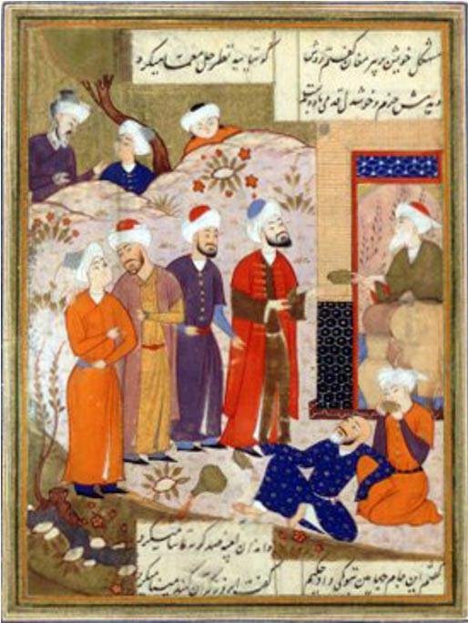 Ancient Persian poet Hafez looking at the Cup of Jamshid. Turkish manuscript of 1477, author unknown, from Shîrâz, Iran.