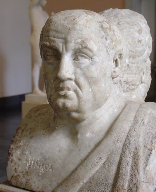 Ancient bust of Seneca, part of the Double Herm of Socrates and Seneca