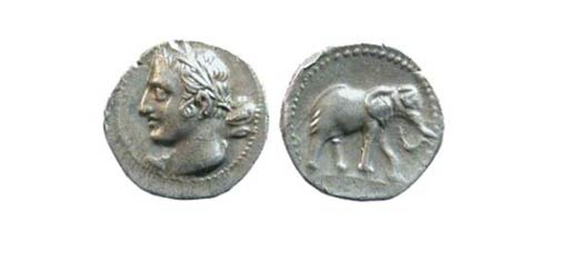 Ancient coin showing Hannibal Barca. Students found coins and other objects in the ancient moat.