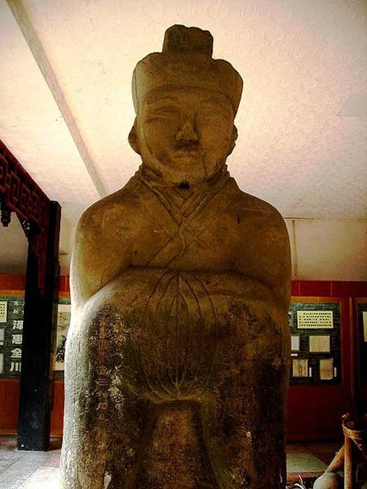 Ancient devotional statue of Li Bing on display at Dujiangyan, China.