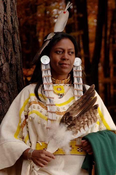 Andrea Laboy spent seven months creating the traditional buckskin regalia of her tribe, the Siksika Nation. Ms. Laboy is with the 435th Mission Support Squadron at Ramstein Air Base, Germany. (U.S. Air Force photo/Master Sgt. Scott Wagers)