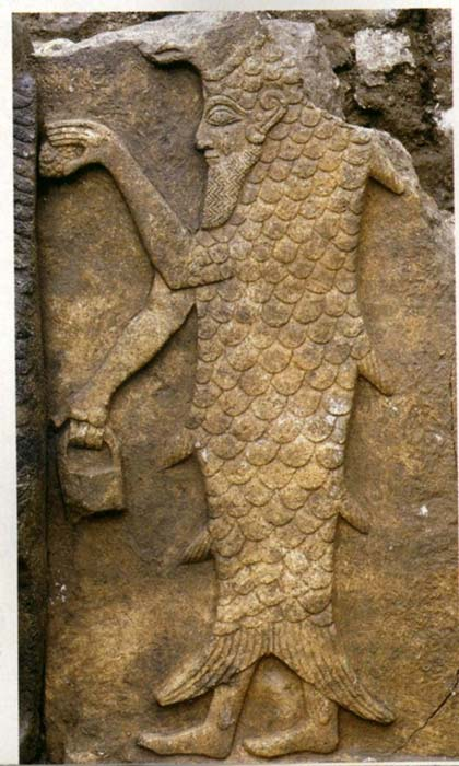 "Androgynous Babylonian man-fish deity Oannes carrying the mysterious ""man bag"". (Author provided)"