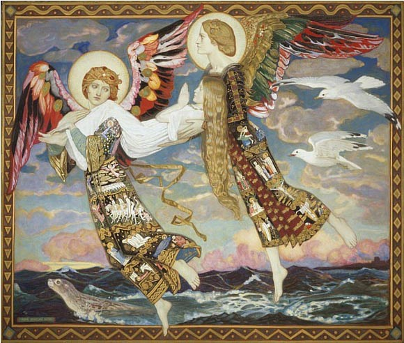 Angels take St. Bride or Brigit, a Catholicized ancient Celtic goddess of light, to Bethlehem to foster the Christ child, John Duncan (Sofi/Flickr)