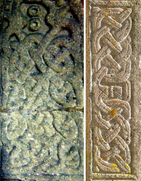 Left: An Anglo Saxon/Anglo Norse Cross carving from St Andrews Church, Aycliffe County Durham, England. (Sprat Mackrel / Wikimedia Commons). Right: Stone from Creeton Church, Lincolnshire, possibly a Saxon cross-shaft.