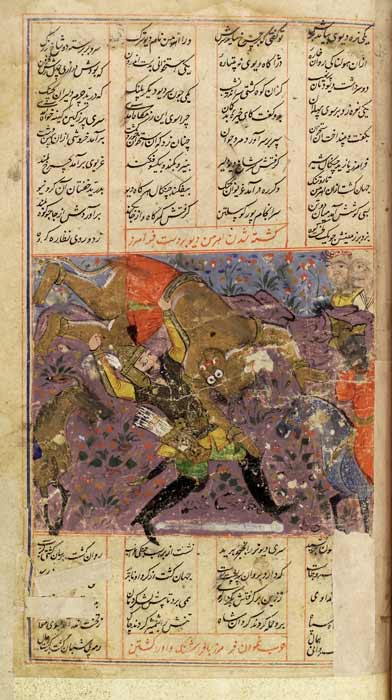 Angra Mainyu (or Ahriman) being slain by Faramarz during a scene from the Shahnameh. (See page for author / CC BY 4.0)