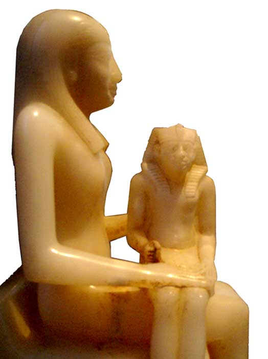 Alabaster statue of Ankhesenmeryre II and her son Pepi II.