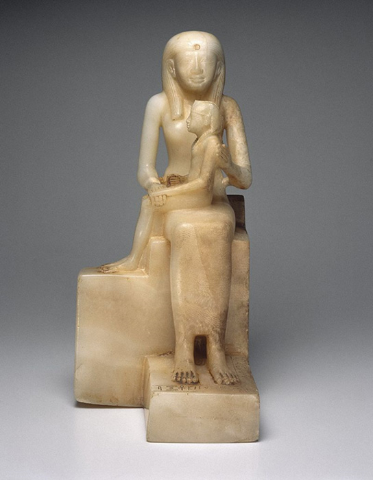 Statuette of Queen Ankhesenpepi II and her Son, Pepy II, ca. 2288-2224 or 2194 B.C.E. Egyptian alabaster, Brooklyn Museum.
