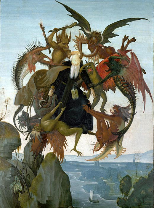 One of many artistic depictions of Saint Anthony's trials in the desert.