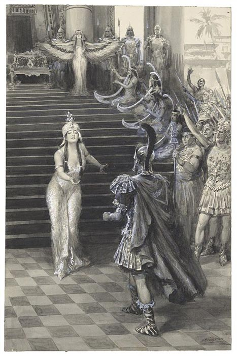 A 1906 drawing by A. M. Faulkner of Cleopatra greeting Mark Antony in Shakespeare's Antony and Cleopatra from the Folger Shakespeare Library collection. (A. M. Faulkner / CC BY-SA 4.0)