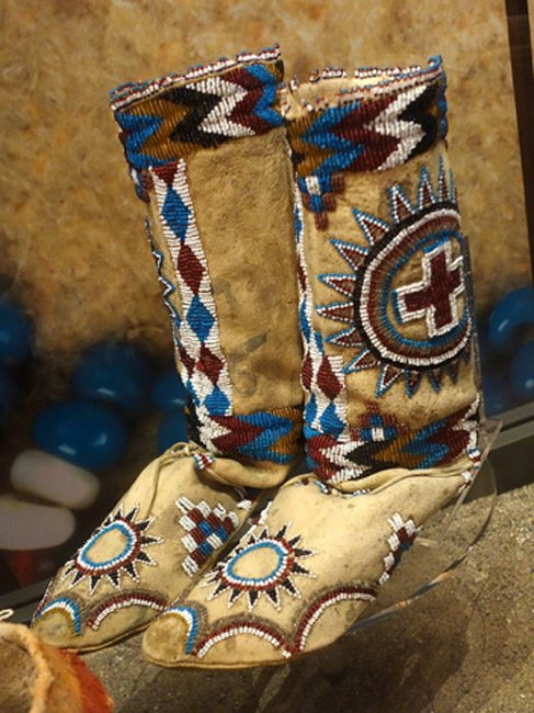 These elaborately beaded Apache boots date from around 1890. (CC0)