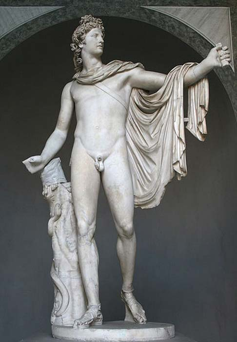 Apollo Belvedere. Roman copy after a Greek bronze original of 330–320 BC. attributed to Leochares. Found in the late 15th century.
