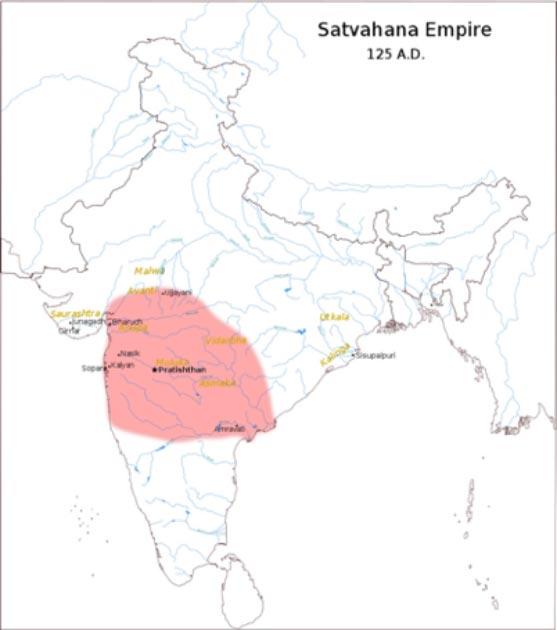 Approximate extent of the Satavahana Empire under Gautamiputra Satakarni, 124 AD, as suggested by the Nashik prashasti inscription. (Chetanv / CC BY-SA 3.0)