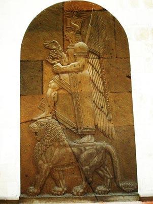 Representación de la Araratian dios Haldi