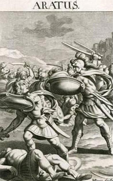 Aratus of Sicyon, leader of the Achaean League, in battle. (पाटलिपुत्र / Public Domain)