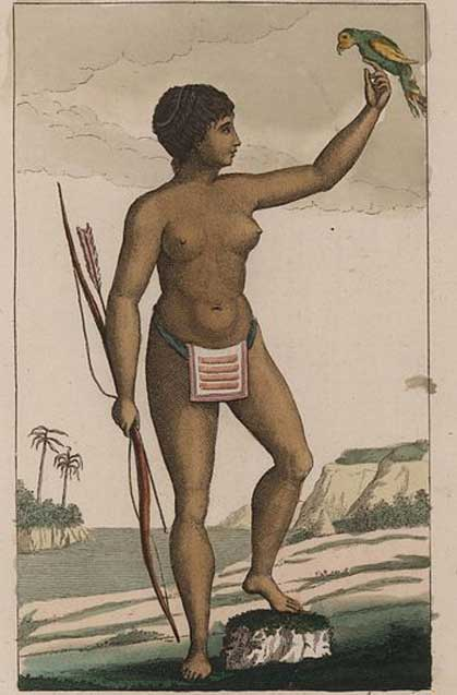 Arawak woman by John Gabriel Stedman, wearing a loin cloth of woven beads. (1818)