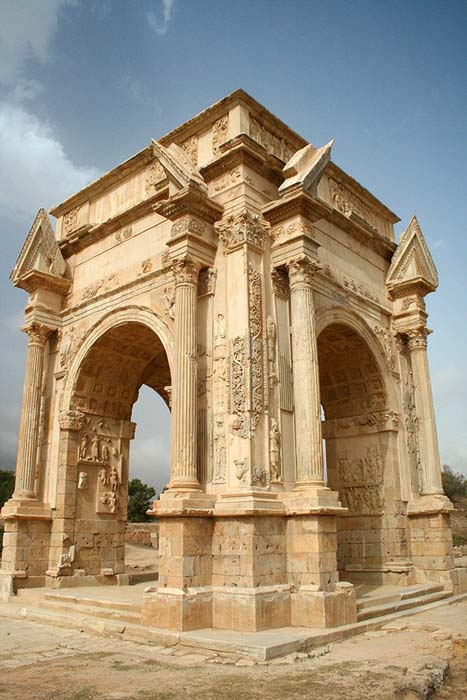 Arch of Roman Emperor Septimius Severus in the ruins of Leptis Magna