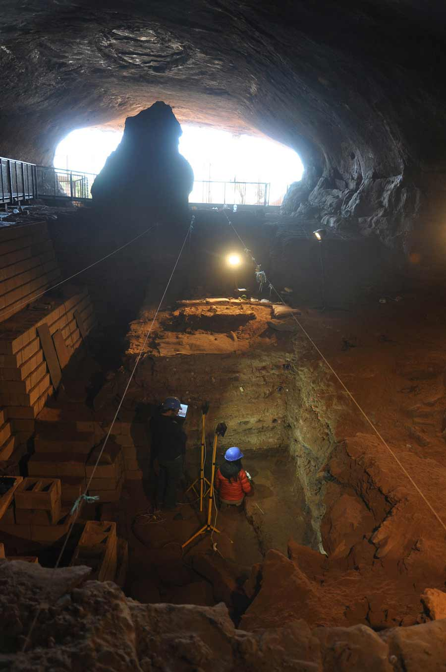 Archaeologists working inside of Wonderwerk Cave. (Michael Chazan / Quaternary Science Reviews)