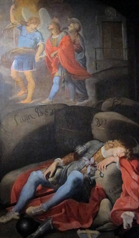 Archangel Michael looking over San Galgano as he rests in the cave. Diocesan Museum.