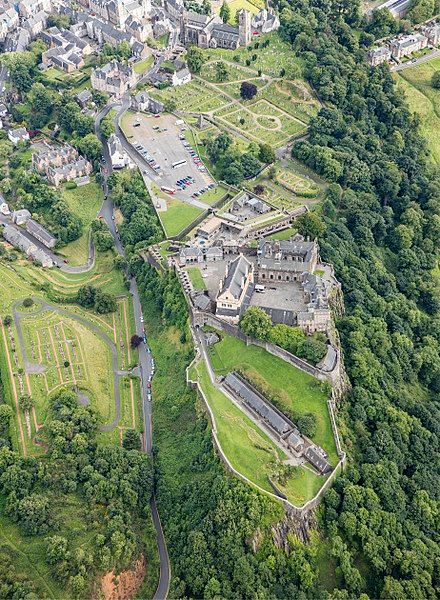 Ariel photograph of Stirling Castle, the setting of the medieval flight attempt.