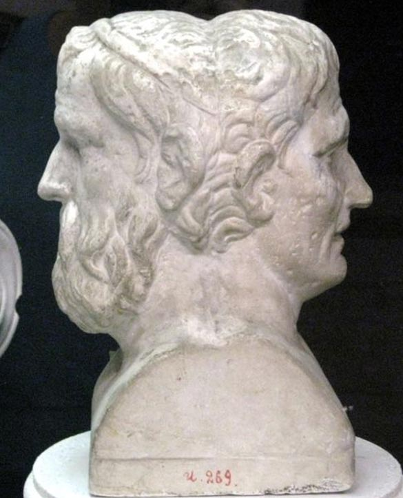 Cast of Aristophanes (left) and Menander.