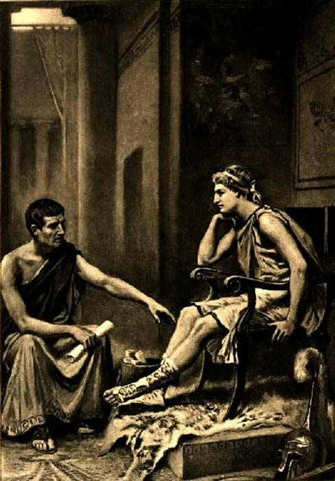 Aristotle tutoring Alexander.