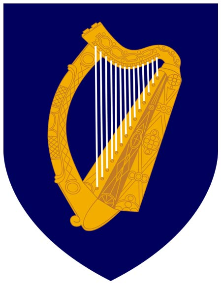 Arms of Ireland. Blazon: Azure, a harp or stringed argent