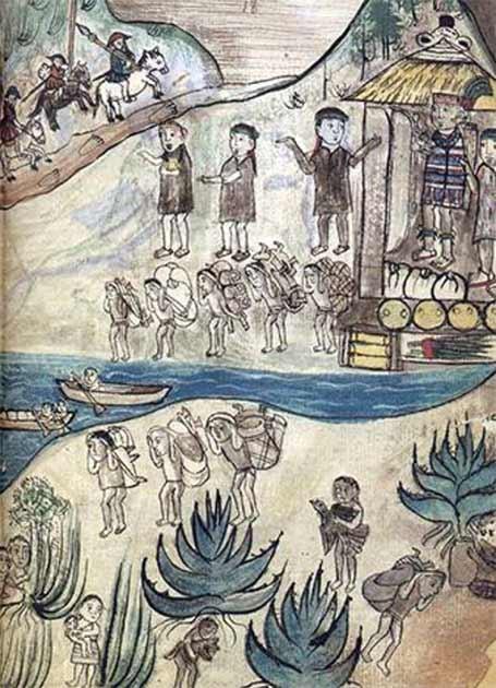 Arrival of the Spanish to Michoacán in Relación de Michoacán. (Public domain)