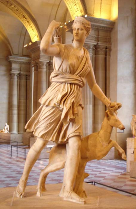 "Artemis with a hind, better known as ""Diana of Versailles"". Marble, Roman artwork, Imperial Era (1st-2nd centuries CE)."