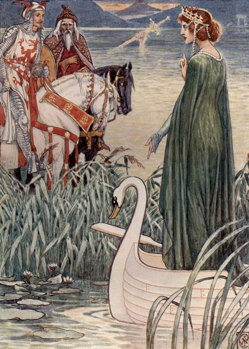 King Arthur asks the Lady of the Lake for the Sword Excalibur, by the nineteenth-century English artist Walter Crane.
